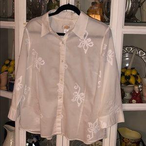 Talbots White Cotton Embroidered ButtonDown Blouse